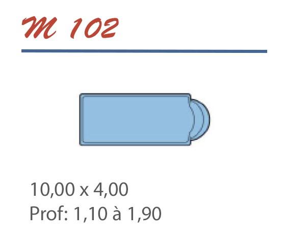 Piscine Romane 10,00 x 4,00 Profondeur 1,10 à 1,90