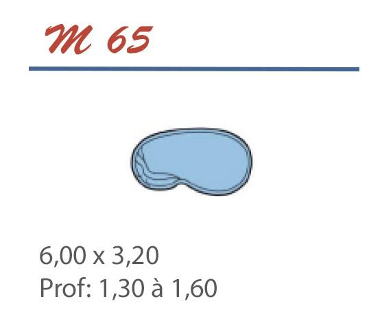 Piscine Haricot 6,00 x 3,20 Profondeur 1,30 à 1,60