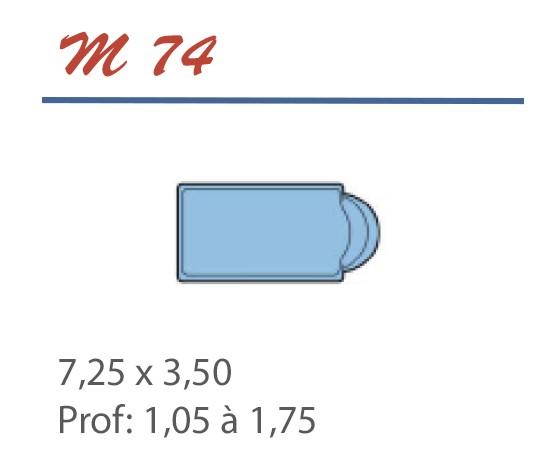 Piscine Romane 7,25 x 3,50 Profondeur 1,05 à 1,75