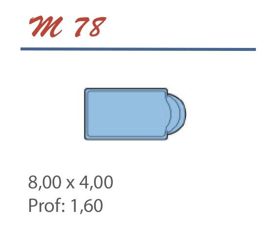 Piscine Romane 8,00 x 4,00 Profondeur 1,60