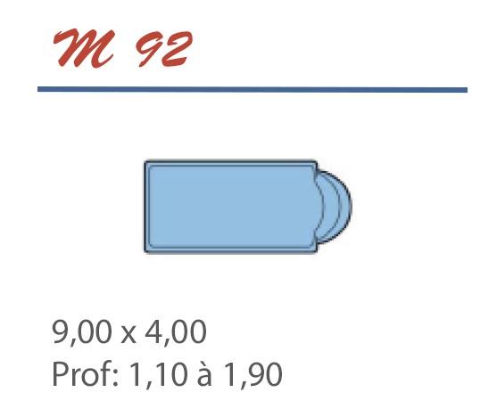 Piscine Romane 9,00 x 4,00 Profondeur 1,10 à 1,90