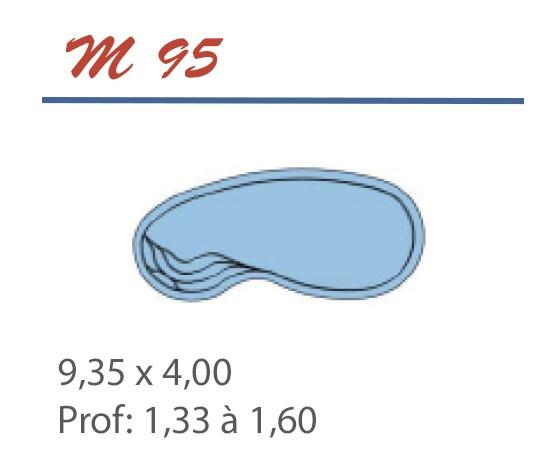 Piscine haricot 9,35 x 4,00 Profondeur 1,33 à 1,60
