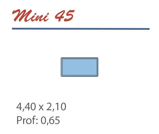 Piscine rectangle 4,40 x 2,10 profondeur 0,65 accès echelle